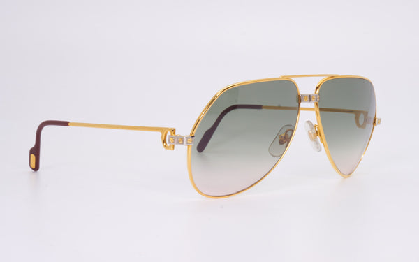 RARE VINTAGE CARTIER SANTOS SCREWS 62-14 GOLD PLATED 1980s SUNGLASSES