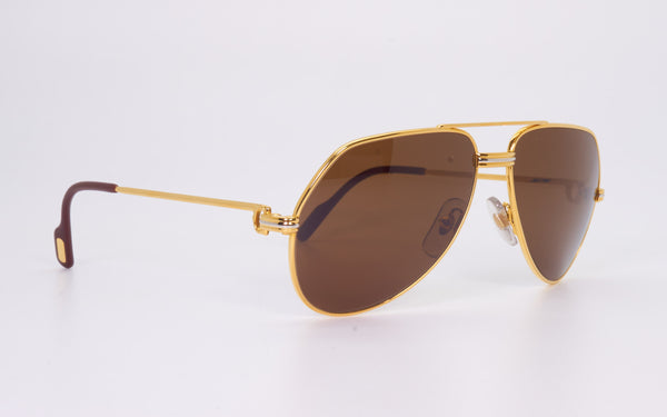 RARE VINTAGE CARTIER VENDOME 56-14 GOLD PLATED 1980's SUNGLASSES