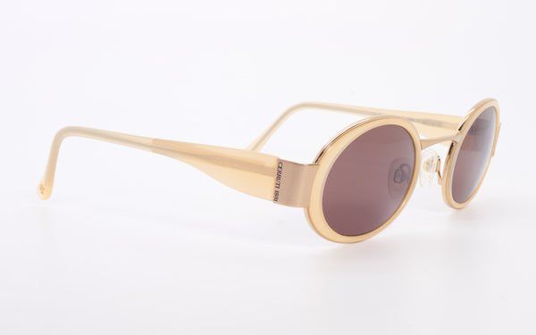RARE VINTAGE CERRUTI 1881 OVAL CREAM GOLD OVAL SUNGLASSES