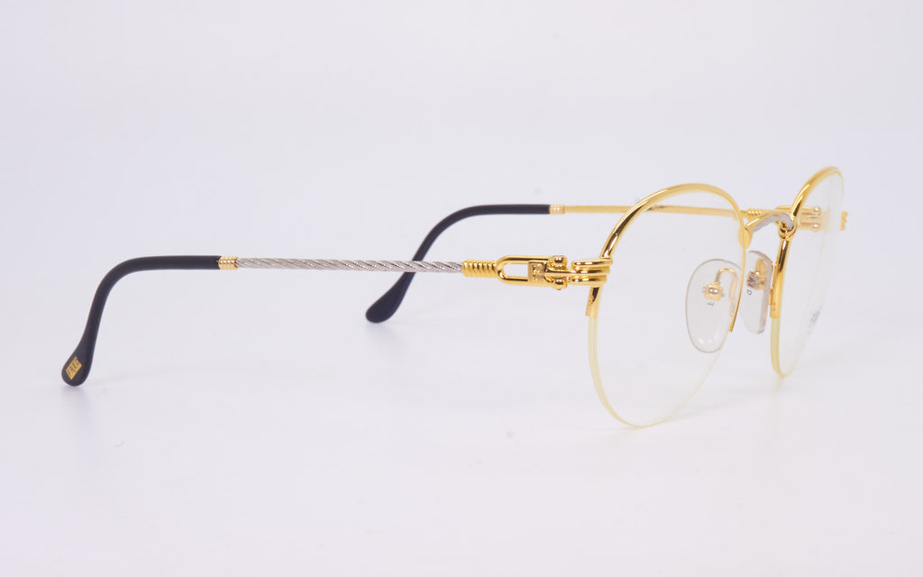 RARE VINTAGE FRED LUNETTES GRAND LARGUE GOLD & PLAT PLATED EYEGLASSES
