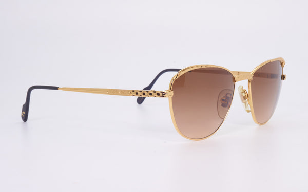 RARE VINTAGE TIFFANY LUNETTES T350 23kt GOLD PLATED 1980's SUNGLASSES