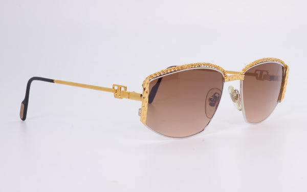 RARE VINTAGE TIFFANY LUNETTES T1/01 23kt GOLD PLATED 1980s SUNGLASSES
