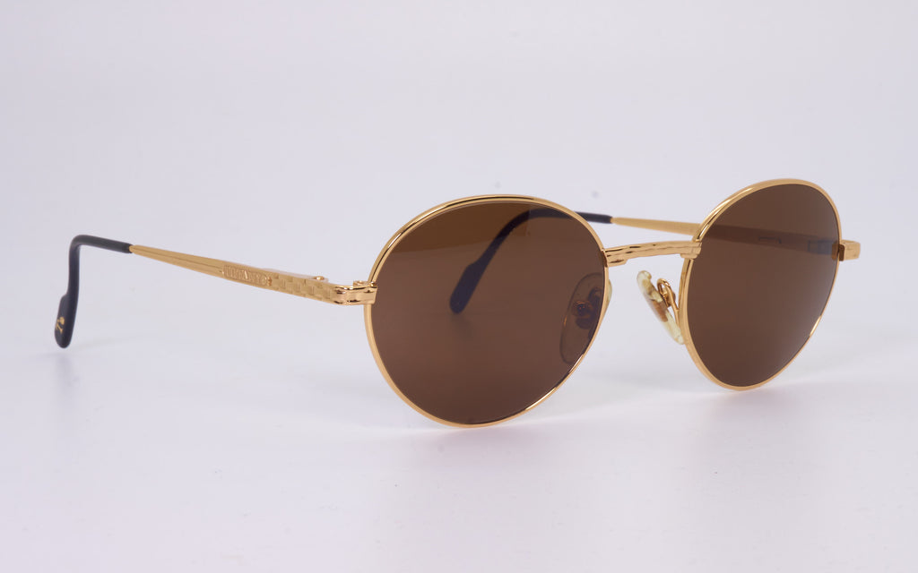 RARE VINTAGE TIFFANY LUNETTES T411 23kt GOLD PLATED 1980's SUNGLASSES