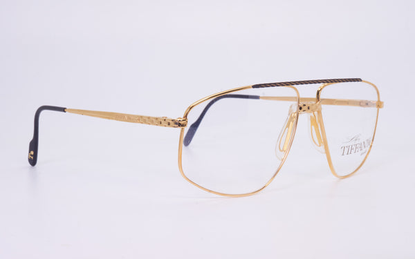 RARE VINTAGE TIFFANY LUNETTES T89 23kt GOLD PLATED 1980's EYEGLASSES