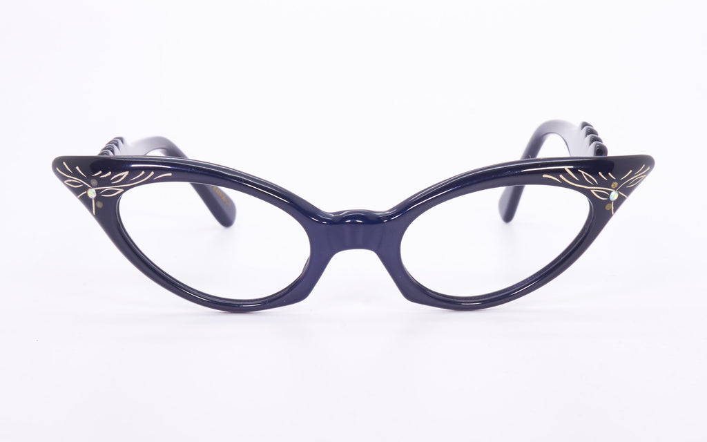 FRENCH 1950's CATEYE EYEGLASSES WITH SLIGHT EMBELLISHMENTS
