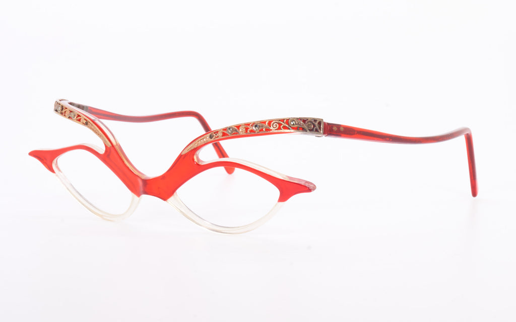 RARE VINTAGE ENGLISH 1950s FLOATING TEMPLE RED CATEYE EYEGLASSES