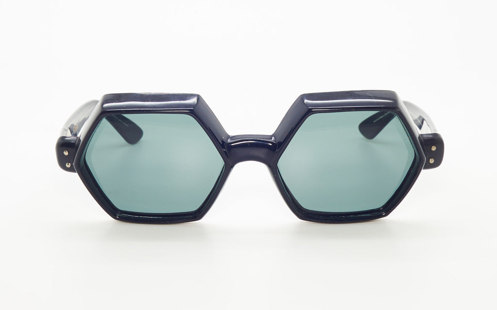 OLEG CASSINI 1960's BLACK HEXAGONAL SUNGLASSES