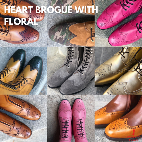 Celeris toes Heart brogue with floral
