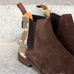 LEITIZIA PLAIN  Coffee Brown Suede/Camouflage Suede