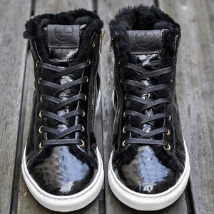 Winter Sneakers Black Croco Gloss
