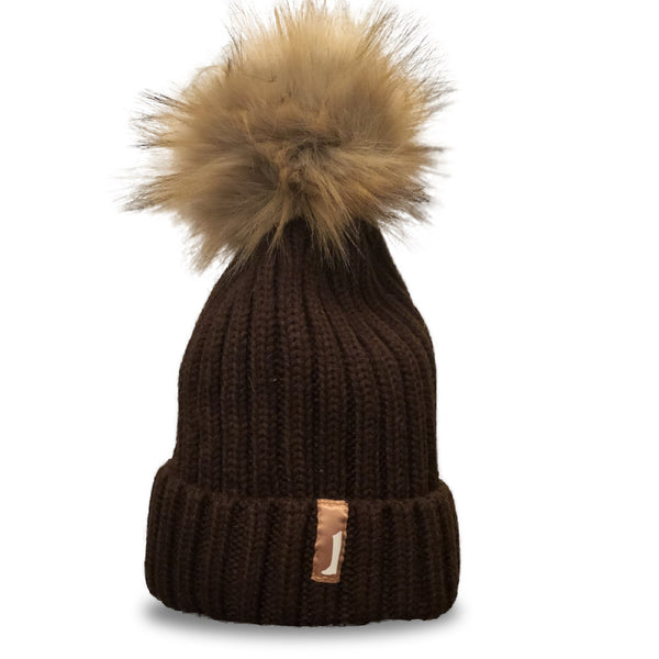 Faux Fur Pom Pom Hat Brown
