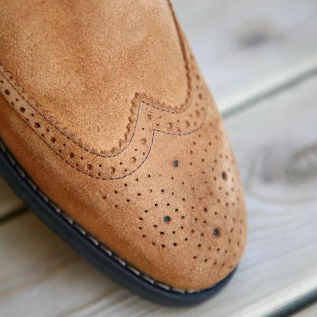 LEITIZIA BROGUE Lightbrown Suede (Size 43)