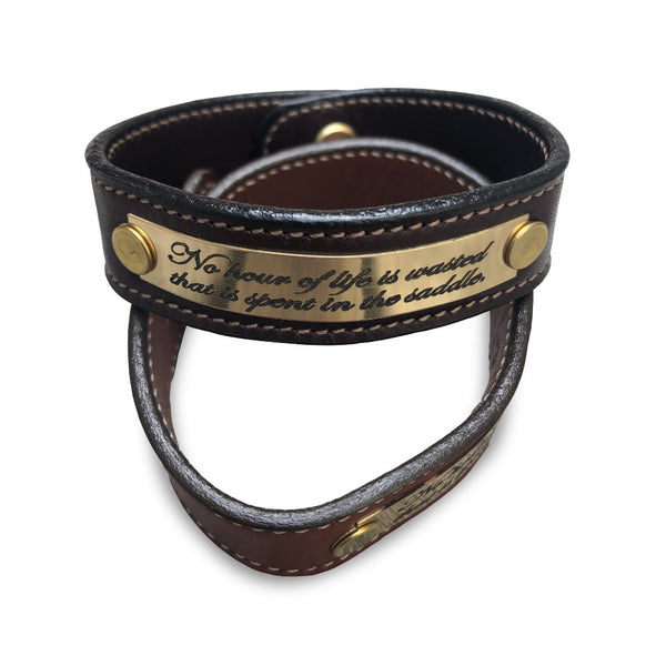 "Leather Bracelet With Engraving ""No Hour..."""