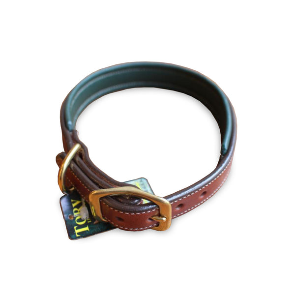 Leather Collar In Oakbark With Green Padding