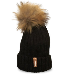Faux Fur Pom Pom Hat Black
