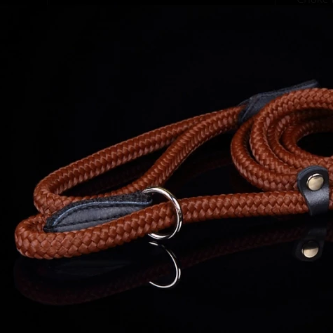 Combined Rope Collar & Leash Brown