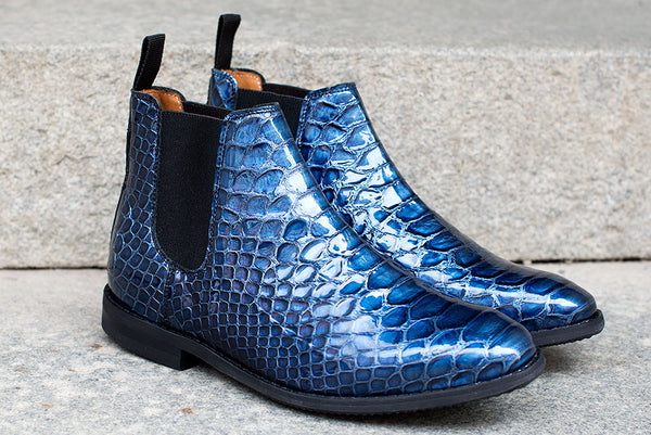 LEITIZIA PLAIN  Blue Croco Gloss