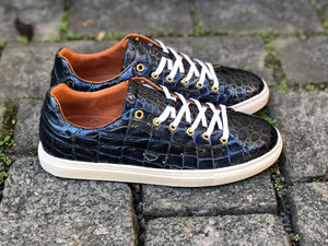LOW SNEAKERS Blue Croco Gloss