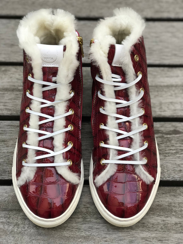 Winter sneakers - Bordeaux croco