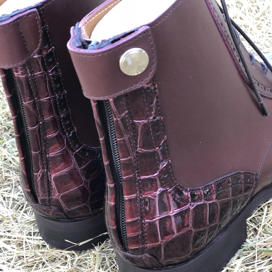 BRITO Bordeaux Leather With Bordeaux Croco Details (Size 40)