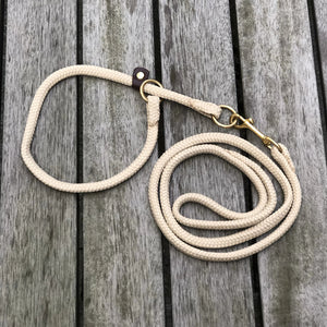 Rope Collar & Leash Set Creme