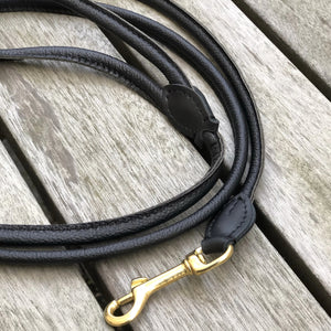 Padded Rolled Dog Leash Black