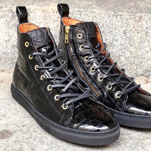 HIGH SNEAKERS Black Croco Gloss