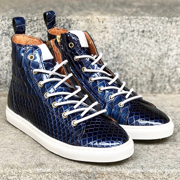 HIGH SNEAKERS  Blue Croco Gloss