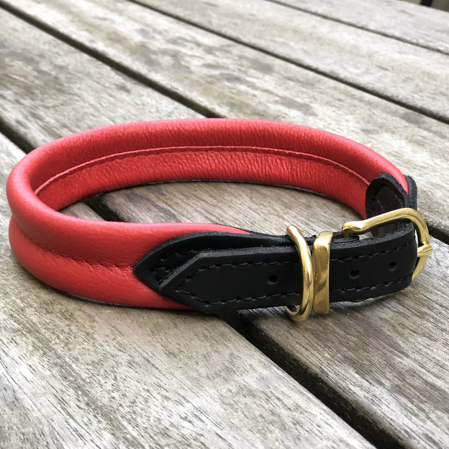 Padded Dog Collar Red