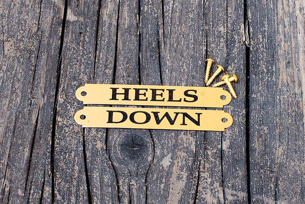 HEELS DOWN engraved nameplates for boots