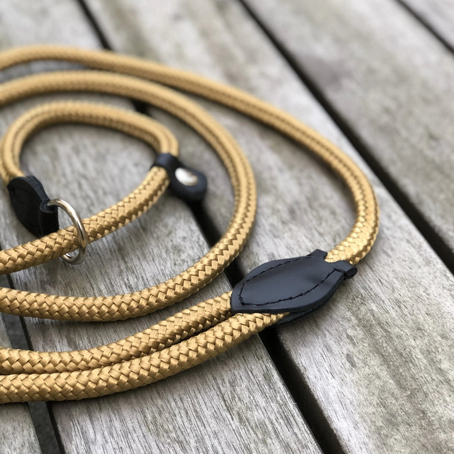 Combined Rope Collar & Leash Gold