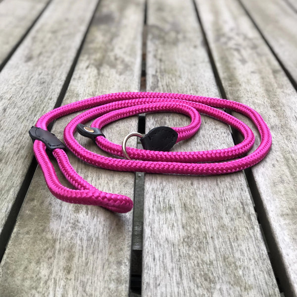 Combined Rope Collar & Leash Pink
