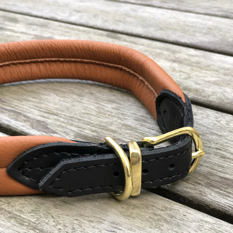 Padded Dog Collar Cognac