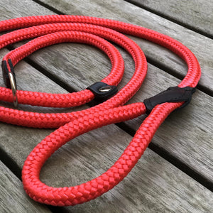 Combined Rope Collar & Leash Red
