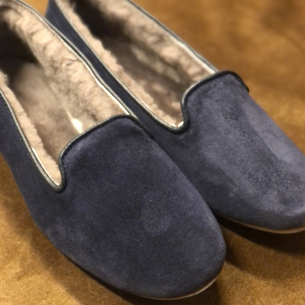 AUGUSTA SHEEPSKIN PLAIN Navy Suede