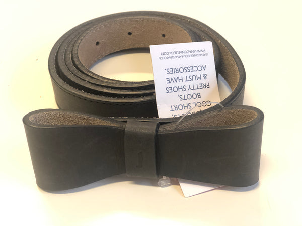 Navy Leather bow belt