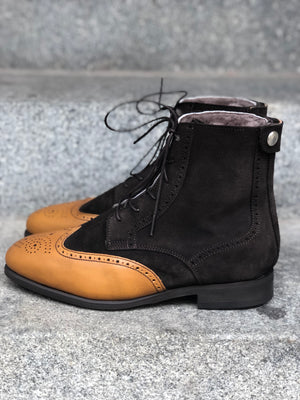 BRITO WINTER Coffee Brown Suede With Light Brown Toe