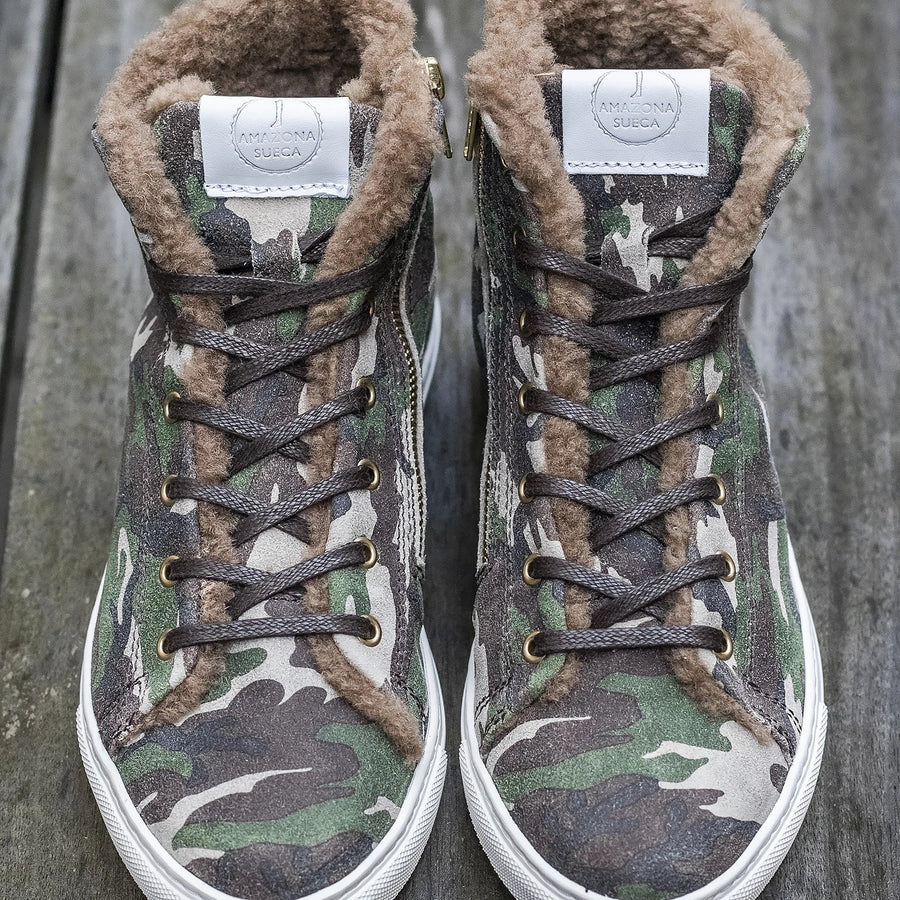 Winter Sneakers Camouflage Suede