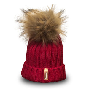 Faux Fur Pom Pom Hat Red