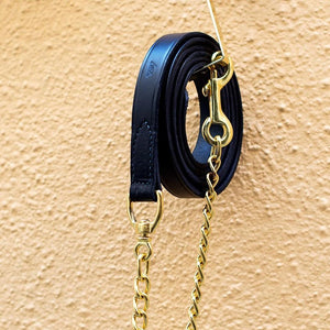Black Leather Lead with Brass Chain