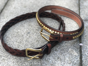 Laced Oakbark Leather Belt