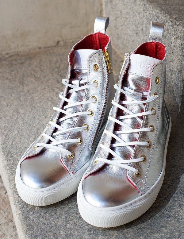 HIGH SNEAKERS  Silver Leather (Size 37)