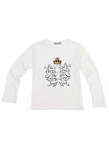 Alice Through The Looking Glass Red Crown White T-Shirt - Long Sleeve