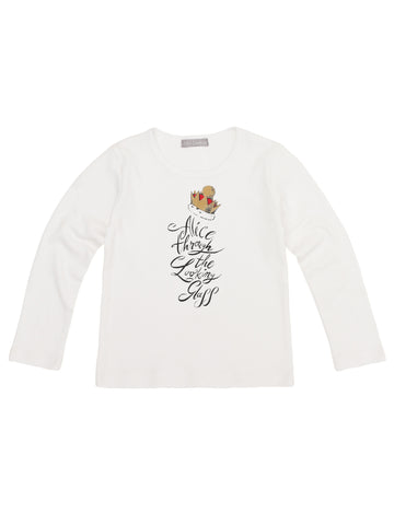 Alice Through The Looking Glass Children's Red Crown White T-Shirt - Long Sleeve