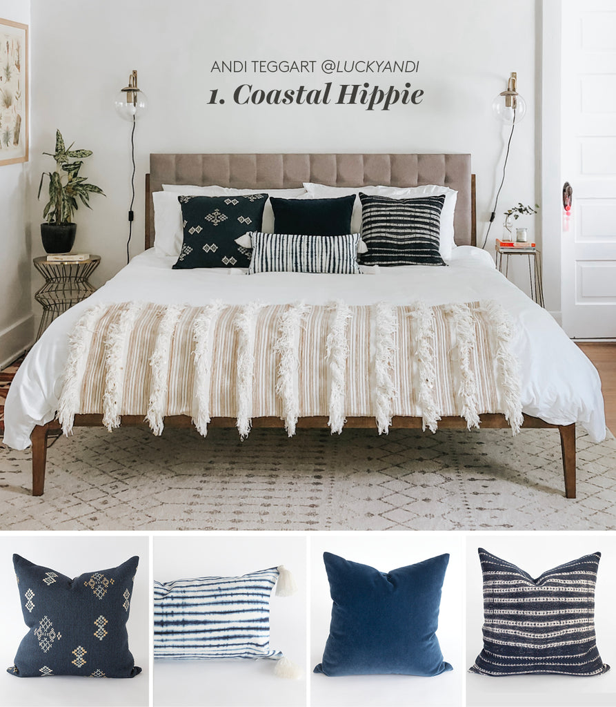 Coastal Hippie blue and white pillows from Tonic Living
