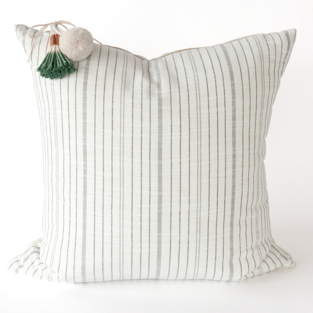 black and white striped pillow tassels pom pom