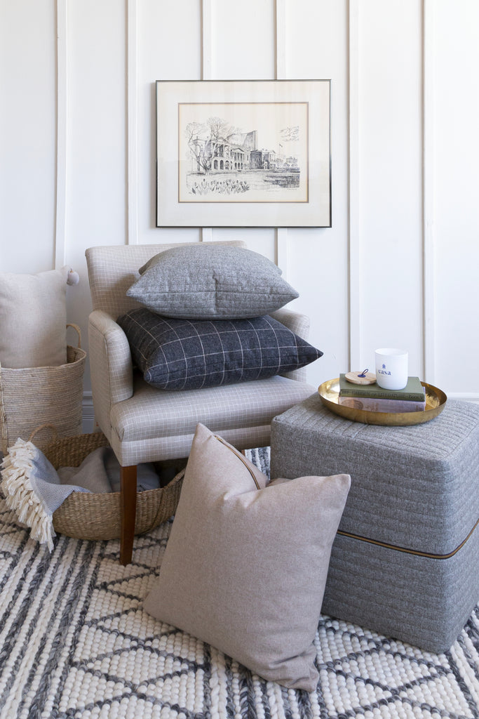 The Cozy Collection for fall decorating from Tonic Living with pillows, throws, wool rugs, grey, camel, channelling and quilted fabric