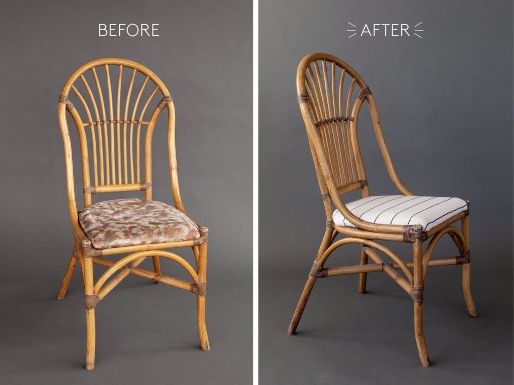 vintage bamboo chair makeover with black and white striped fabric