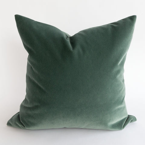 Valentina Velvet, Jade sage grey green pillow with blue undertones