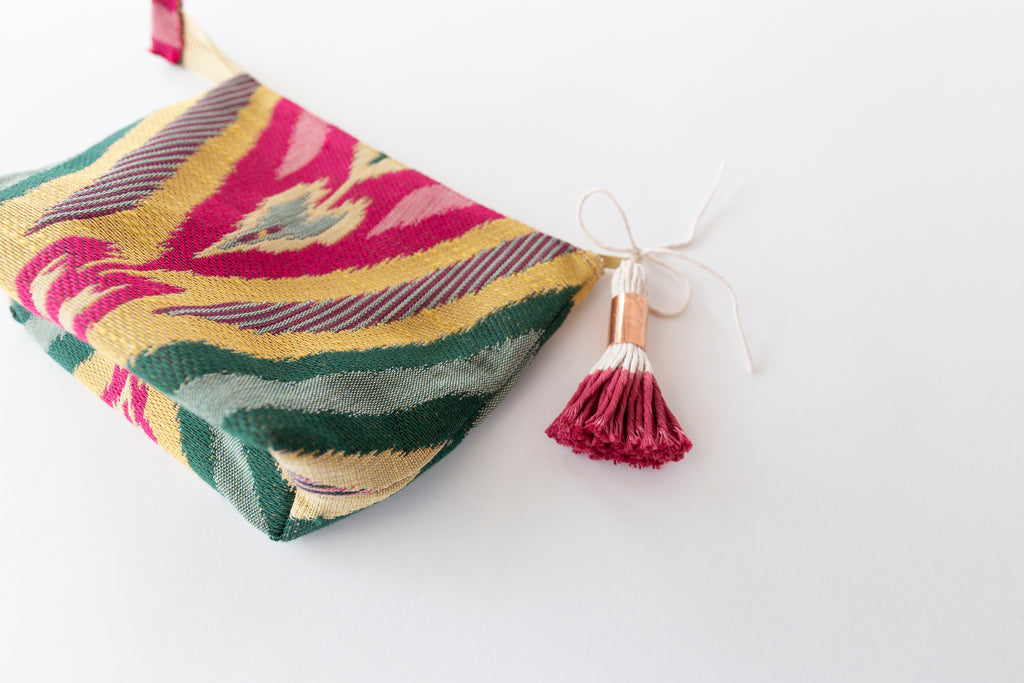 colorful boho makeup bag tassel